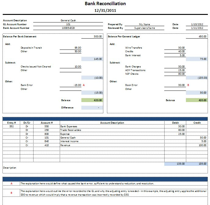 Bank Reconciliation Template   SpreadsheetShoppe ln5En1f0