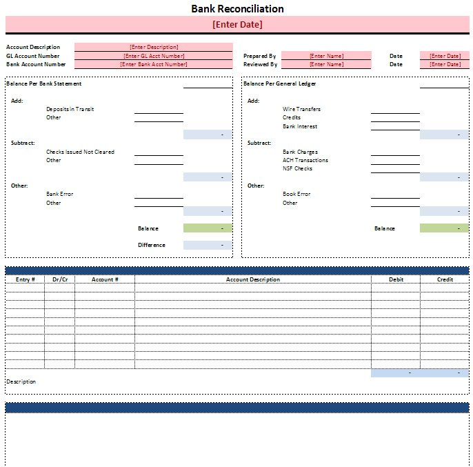 excel bank account spreadsheet template