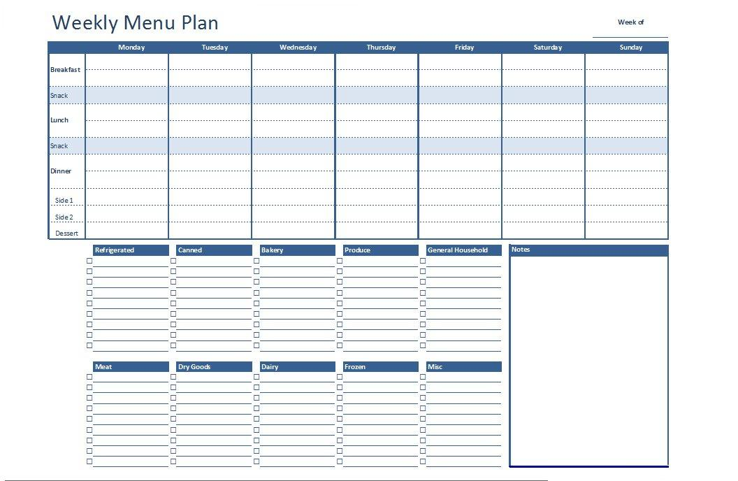Organize your kitchen with this Free Weekly Menu Plan. Use it to plan ...