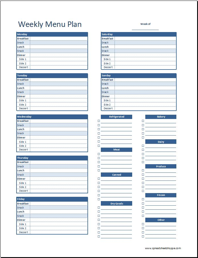 Weekly menu plan template v2 spreadsheetshoppe for Home plan weekly